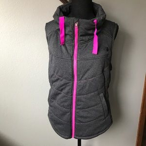 NORTH FACE Gray&pink pseudio puff vest NWOT
